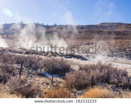 Natural hot springs in Mono County, California along US395