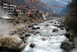 Natural hot water spring in Himachal Pradesh