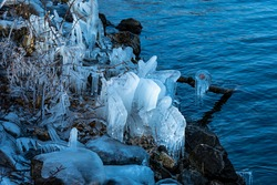 natural ice sculptures in winter on the shores of Lake Constance. The ice has formed on twigs and branches, stones and trees.  Hard in Vorarlberg, Austria