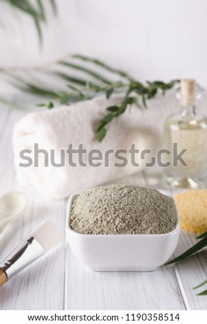 Natural ingredients for homemade facial and body mask or scrub. Spa and bodycare concept. #1190358514
