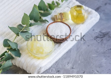 Natural Ingredients Homemade Body Sea Salt Scrub with Olive Oil Honey Milk White Towel Beauty Concept Skin Care Organic Aroma Spa Therapy Stock photo ©