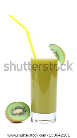 Natural kiwi juice. Close up. White background.