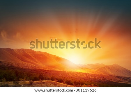 Natural landscape and sun rising at skyline #301119626