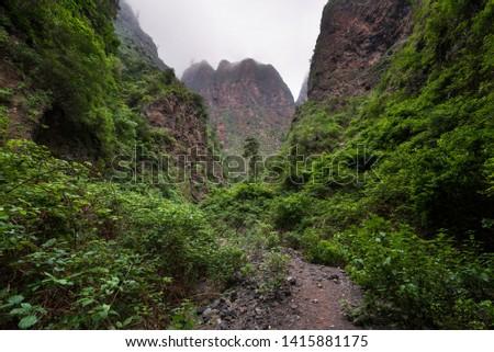Natural landscape Badajoz canyon, Barranco de Badajoz in Tenerife, Spain .