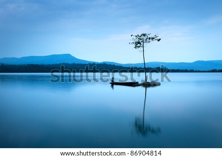 natural landscape in blue. a...