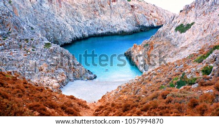 natural landscape of Seitan Limania creek with light sand and turquoise water on the island of Crete in Greece