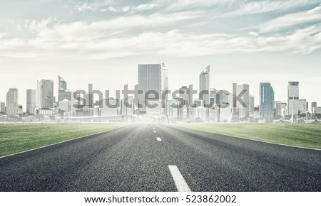"""stock photo natural landscape with asphalt road and modern city 523862002 - Каталог - Фотообои """"Города"""""""