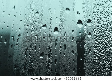 natural large and fine water drops on glass
