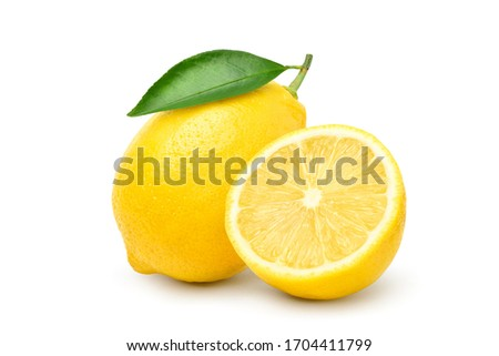 Natural Lemon fruit with cut in half and green leaf isolated on white background. Clipping path.