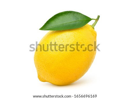 Natural Lemon fruit with green leaf isolated on white background. Clipping path.