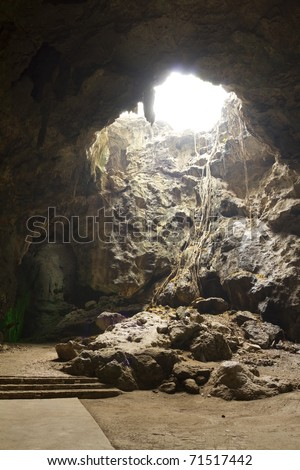 Natural light inside the cave.
