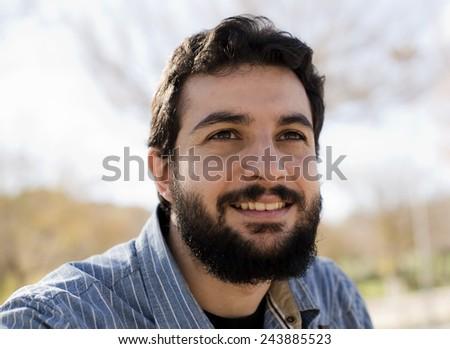 Natural light portrait of hipster man, trendy image. #243885523