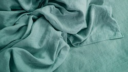 Natural linen and cotton fabric texture. Eco-friendly material for tablecloths, clothes, home textiles, bed linen. Hypoallergenic material for sensitive skin