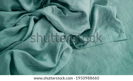 Natural linen and cotton fabric texture. Eco-friendly material for tablecloths, clothes, home textiles, bed linen. Hypoallergenic material for sensitive skin Stock photo ©