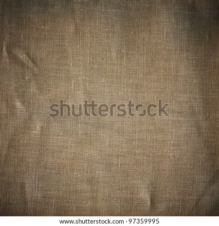 Natural linen striped grunge textured sacking burlap vintage background
