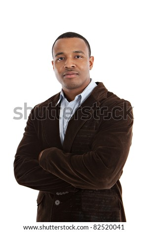Natural Looking Serious Looking Young African American Male Model on Isolated Background - stock photo