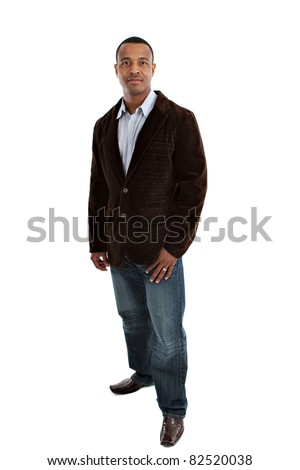 Natural Looking Smiling Young African American Male Model on Isolated Background Full Body Length Standing #82520038