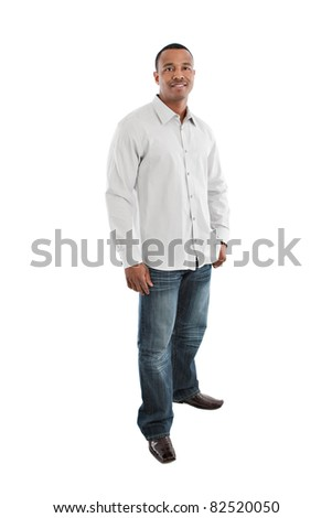 Natural Looking Smiling Young African American Male Model on Isolated Background Full Body Length Standing