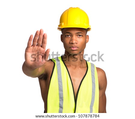 Natural Looking Worried Young African American Construction Worker Gesture NO on Isolated Background
