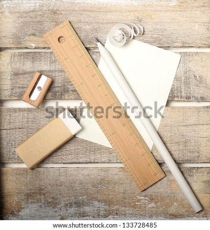 Natural materials study tool set on wooden background