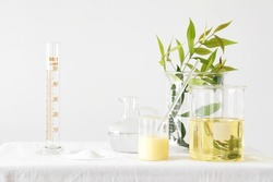 Natural medicine, Equipment and science experiments, Formulating the chemical for medicine, Organic pharmaceutical, Alternative medicine concept. (Selective Focus)