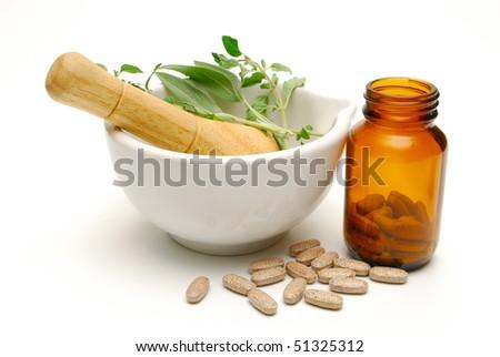natural medicine still life - stock photo