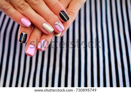 Natural nails, gel polish. Stylish Nails, Nailpolish. Nail art design for the fashion style. #730898749