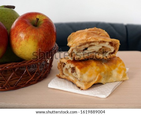 Natural, organic and traditional healthy homemade food. Homemade apple strudel cake made from organic and natural pesticide and chemicals free old variety of tasty apples