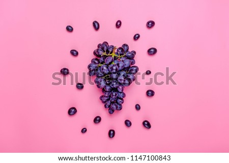 Natural organic black juicy grapes on a trend pink millennial background  Top View Flat Lay. Rustic Style Country Village Agriculture concepts