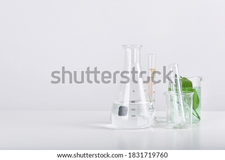 Natural organic extraction and green herbal leaves, Scientific glassware in laboratory. Stock photo ©