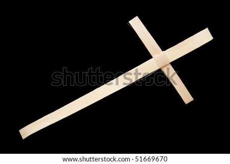 Natural Palm Cross, isolated on black