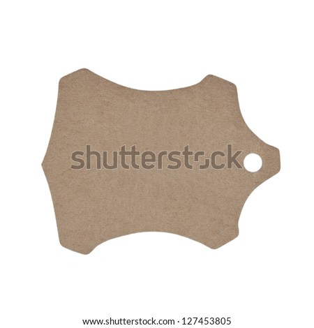 Natural paper label, isolated on white background