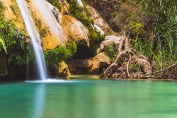 Natural Park Mil Cascadas in Guerrero Mexico, where there are some lakes and waterfalls of clean and cristalin wather