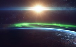 Natural phenomenon of Northern Lights (Aurora Borealis) related to the earth's magnetic field. Elements of this image furnished by NASA