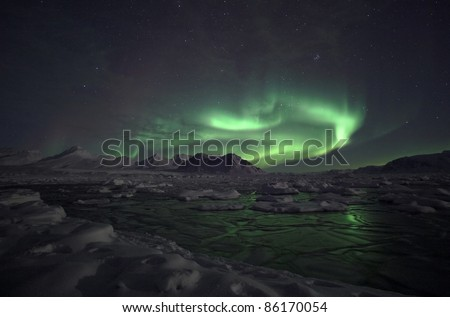 Natural phenomenon of Northern Lights (Aurora Borealis) related to the earth's magnetic field, ionosphere and solar activity