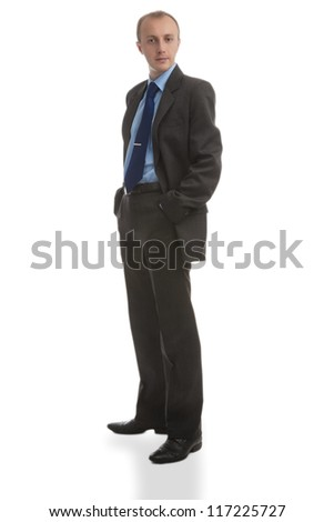 natural portrait of a business man in suite against white background