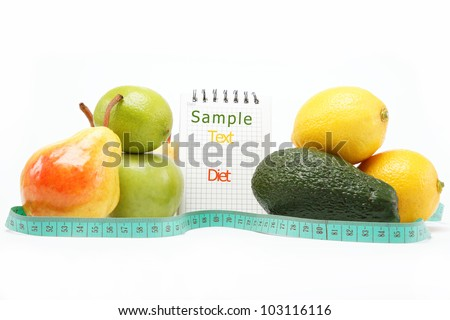 Natural products. Diet. Fresh fruit on a white background.