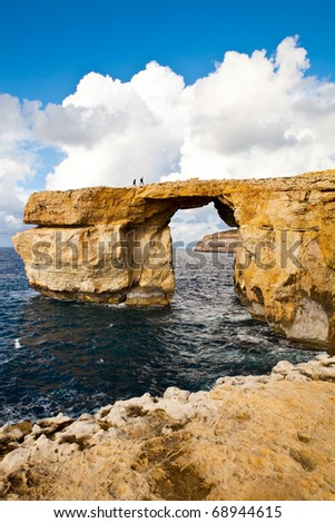 Natural rock arch called the Azure Window, island of Gozo, Malta - stock photo