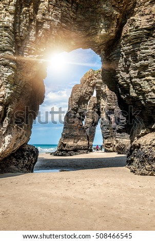 stock photo natural rock arches cathedrals beach playa de las catedrales famous beach in northern spain 508466545 - Каталог — Фотообои «Балконы, арки»