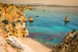 Natural rocks and beaches at Lagos Portugal