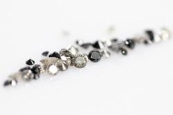 Natural Salt and Pepper Diamonds, Black Diamonds. Brilliant Cut Gemstones. Faceted
