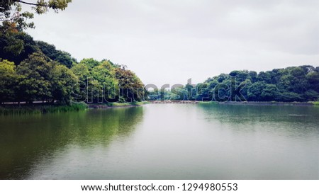 Natural scenery of the public park in Nara Province, Japan, that have the giant lake at the center of park amount by the green trees forest. #1294980553