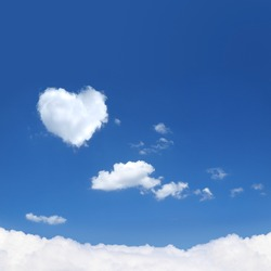 Natural shape heart in the sky with clouds.