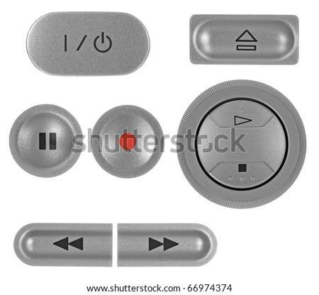 Natural silver grey metallic DVD recorder buttons set, isolated macro closeup - stock photo