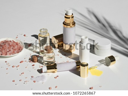 natural skincare products on white background  #1072265867