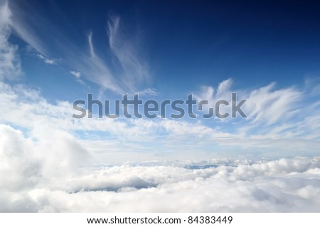 Natural sky and clouds background. Cloudy cover over mountains #84383449