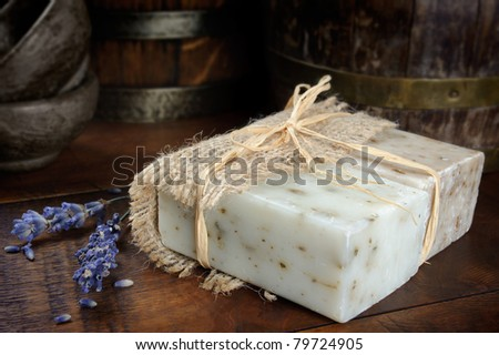 Natural soap bar with lavender flowers