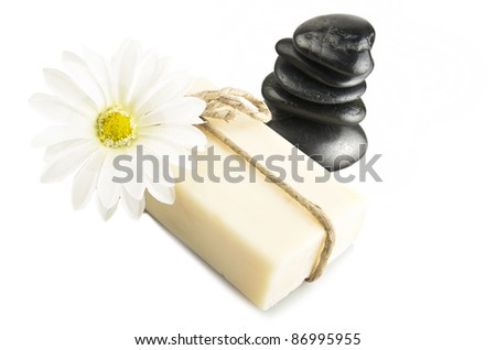 natural soap with white daisy