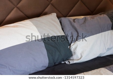 Natural soft pillows on comfortable bed at home #1314597323