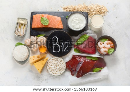 Photo of  Natural sources of Vitamin B12 (Cobalamin) for normalization of sleep;  ensuring normal brain function; supporting the respiratory system;  alzheimer's deasease treatment. Top view